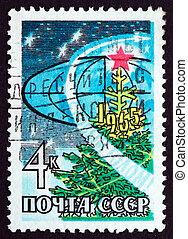 timbre postal, 1965, année, 1964, nouveau, russie, heureux