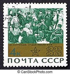 timbre postal, 1965, après, repos, bataille, peinture, russie
