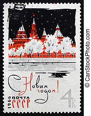 timbre postal, 1965, kremlin, russie, année, nouveau, 1966