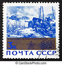 timbre postal, 1965, moscou, approches, peinture, russie