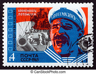 timbre postal, 1965, scène, potemkin, russie, pellicule