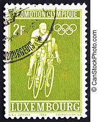 timbre postal, 1968, luxembourg, aller bicyclette