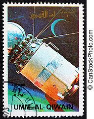 timbre postal, 1972, al-quwain, vaisseau spatial, umm, modèle, vostock