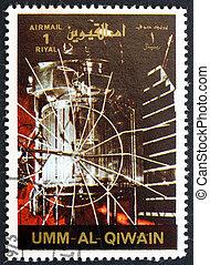 timbre postal, 1972, al-quwain, venera, 1, vaisseau spatial, umm
