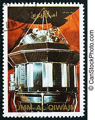 timbre postal, 3, al-quwain, 1972, vaisseau spatial, umm, luna