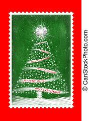 timbre postal, arbre, noël