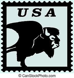 timbre postal, bison, usa