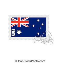 timbre postal, drapeau, australie, vieux