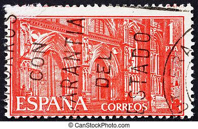 timbre postal, espagne, 1959, monastère, de, guadalupe,...
