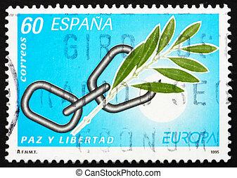 timbre postal, espagne, 1995, cassé, chaîne, et, branche...