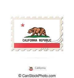 timbre postal, flag., image, état, californie