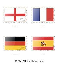 timbre postal, flag., image, angleterre, france, allemagne, espagne