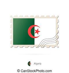 timbre postal, image, algérie, flag.
