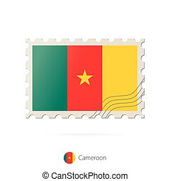 timbre postal, image, camerounais, flag.