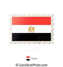 timbre postal, image, egypte, flag.