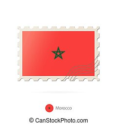 timbre postal, image, flag., maroc