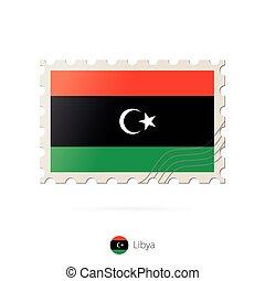 timbre postal, image, libye, flag.