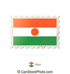 timbre postal, image, niger, flag.
