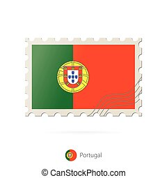 timbre postal, image, portugal, flag.