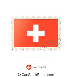 timbre postal, image, suisse, flag.