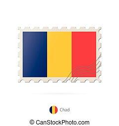 timbre postal, image, tchad, flag.