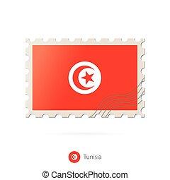 timbre postal, image, tunisie, flag.