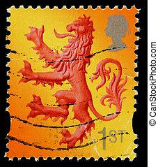 timbre postal, lion, ecosse