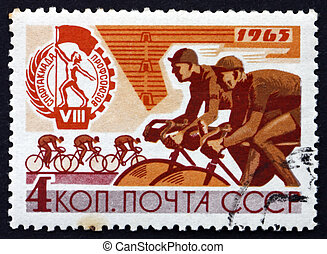 timbre postal, russie, 1965, race bicyclette
