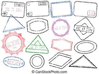 timbre, poste, ou, passeport, set.