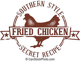 timbre, poulet, frit, méridional