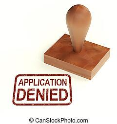 timbre, prêt, rejeté, application, visa, nié, ou, spectacles