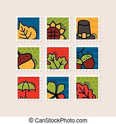 timbre, récolte, set., jour, thanksgiving