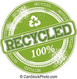 timbre, recyclé, vecteur, grunge