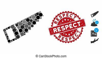 timbre, respect, icône, scie, collage, bois, détresse
