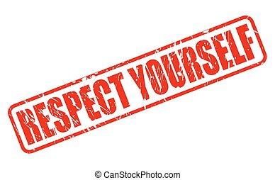timbre, respect, vous-même, rouges, texte