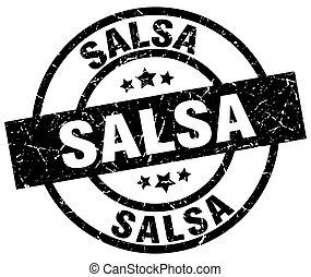 timbre, salsa, grunge, rond, noir