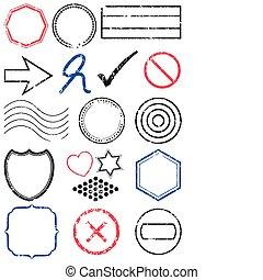 timbre, set., vecteur, illustration