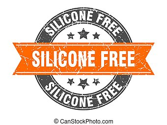 timbre, signe, gratuite, silicone, rond, étiquette, ribbon.
