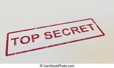 timbre, sommet, caoutchouc, top secret, papier, mettre