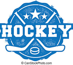 timbre, style, sport, vieux, hockey