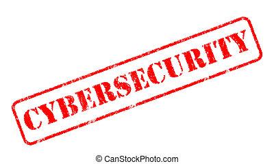 timbre, sur, fond, cybersecurity, caoutchouc, blanc