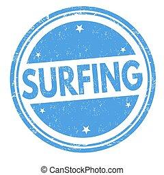 timbre, surfer, ou, signe