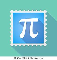 timbre, symbole, nombre, long, courrier, ombre, pi, icône