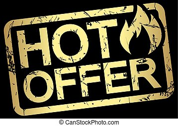 timbre, texte, chaud, or, offre