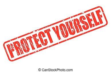 timbre, texte, protéger, rouges, vous-même