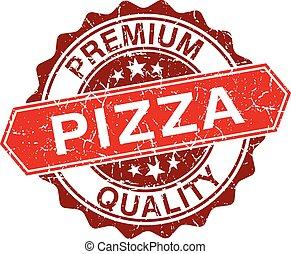 timbre, vendange, isolé, fond, blanc rouge, pizza
