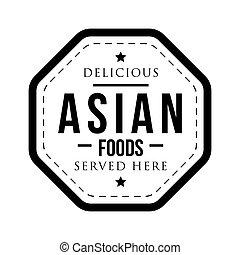timbre, vendange, nourritures, asiatique, délicieux