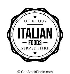 timbre, vendange, nourritures, délicieux, italien