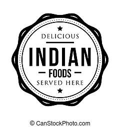 timbre, vendange, nourritures, indien, délicieux