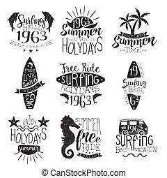 timbre, vendange, surfer, collection, fetes